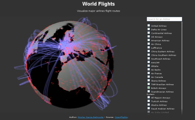 World Flights on a 3D Globe